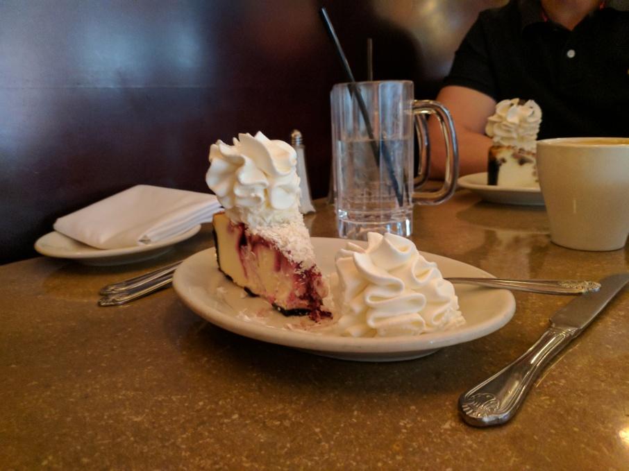 Raspberry and white chocolate truffle cheesecake